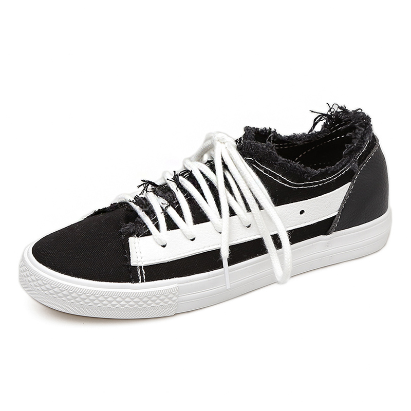 Women Skateboarding Shoes Canvas Sport black low rough deckle sneakers student girl walk ...