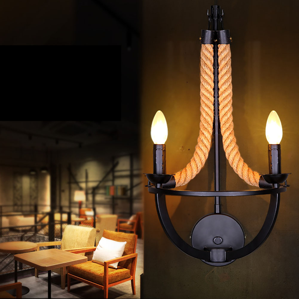 New 2 Arms Wall Lamps Bedroom Bedside Lamp Vintage Loft Wall Light E14 candle Bulb Plated Iron Retro Industrial Home Lighting hemingway e a farewell to arms
