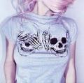 Free Shipping 2017 Summer Style Women T-shirt Tees Skull Bone Printed Cute Cheap Clothes China Female Tops shirts