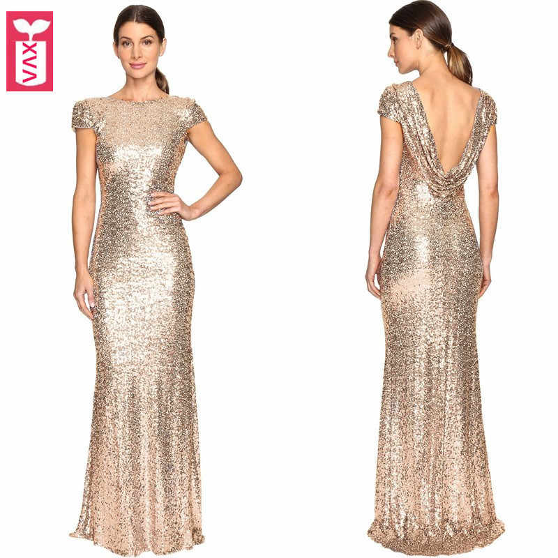 Golden Wine Party Dresses High-end Women Banquet Sequins Formal Backless Long Dress Short Sleeve Floor Length Maxi Dress