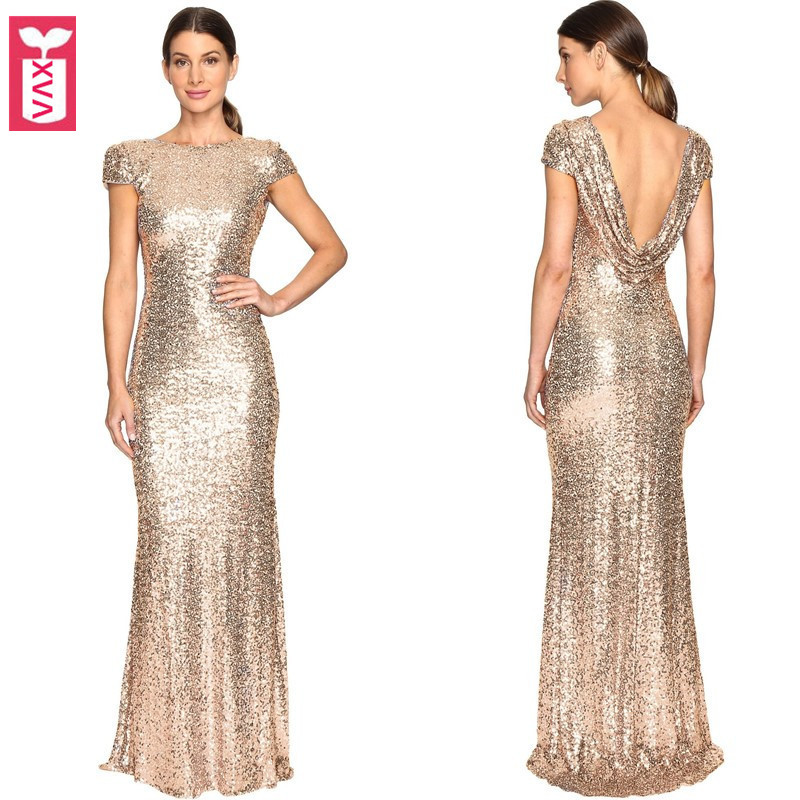a31731e039d Detail Feedback Questions about Golden Wine Party Dresses High end Women  Banquet Sequins Formal Backless Long Dress Short Sleeve Floor Length Maxi  Dress on ...