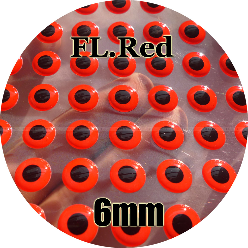 """24 Holographic RED  3D Soft Molded 5//32/""""  4mm Eyes Fly Tying"""