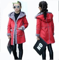 Hchenli Brand 2017 Kids Contrast Color Wool Coat Fashion Long Sleeve Girls Long Coats and blends Fur Thickening Kids Outwear