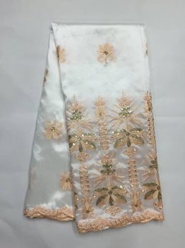Latest Nigerian George Lace High Quality New Silk African George Fabric White+Gold Sequin Fabric Women Party And Bridal Lace B8G