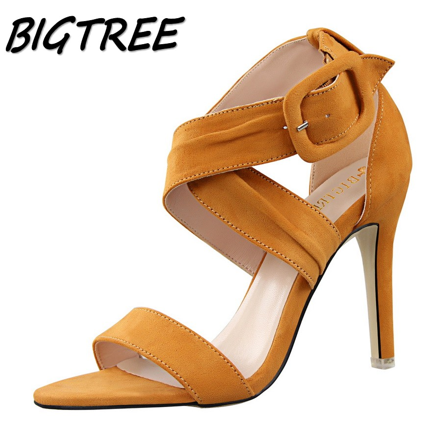 BIGTREE summer women Open toe High heel sandals woman flock hollow out pumps ladies Cross Buckle Strap Thin Heels sandals shoes