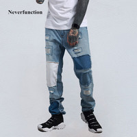Neverfunction 2018 Men Jeans Hip hop Vintage Straight destroy ripped denim pants patch Stitching high quality mens trousers
