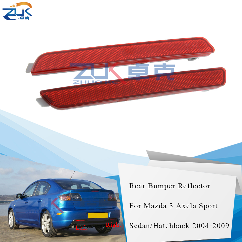 ZUK Rear Bumper Fog Light Fog Lamp Reflector For <font><b>Mazda</b></font> <font><b>3</b></font> M3 Axela Sport Sedan Hatchback Model BK 2004 2005 <font><b>2006</b></font> 2007 2008 2009 image