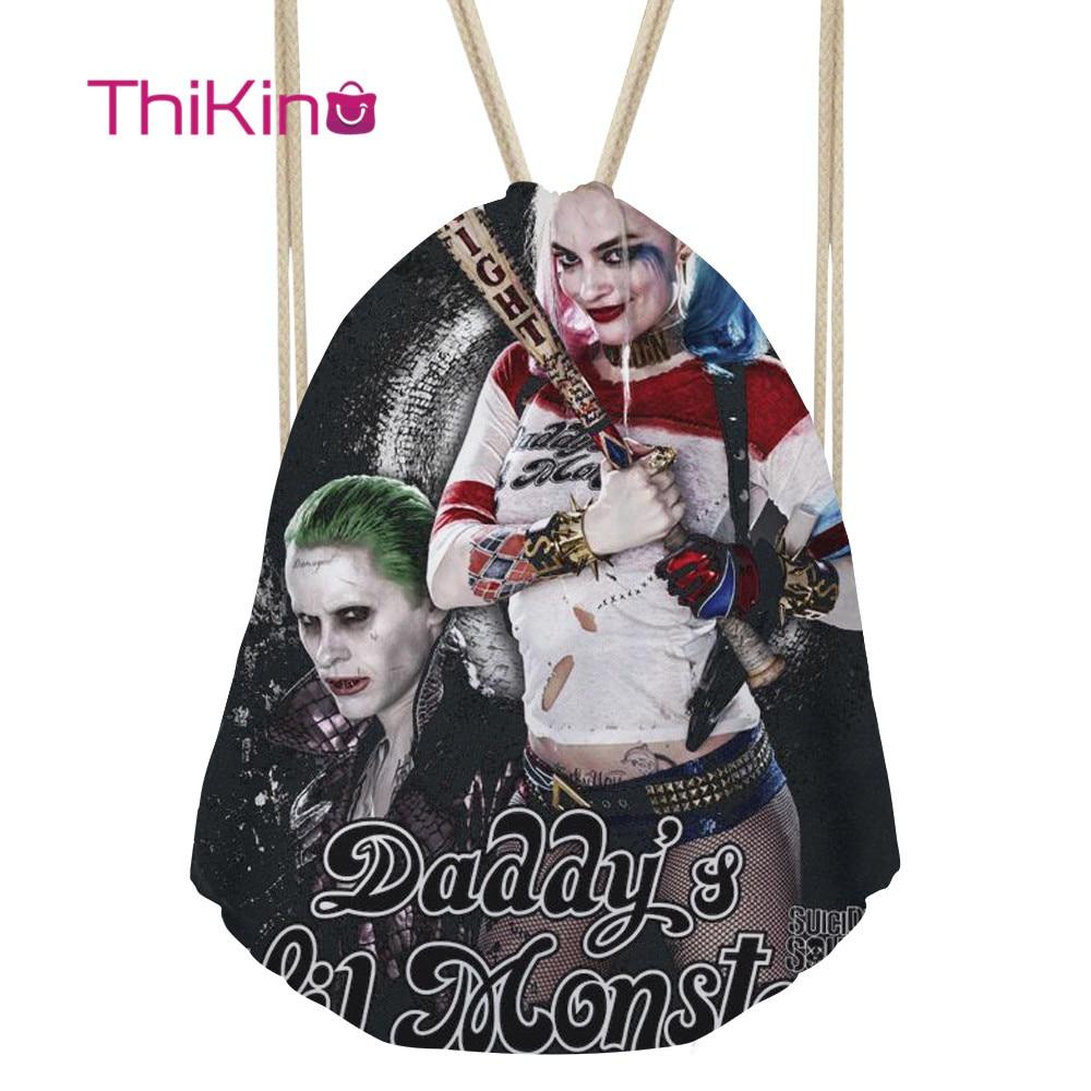 Thikin Harley Quinn Casual Sack for Teenager Kids Mini Backpack Toddler Softback Girls Beach Mochila DrawString