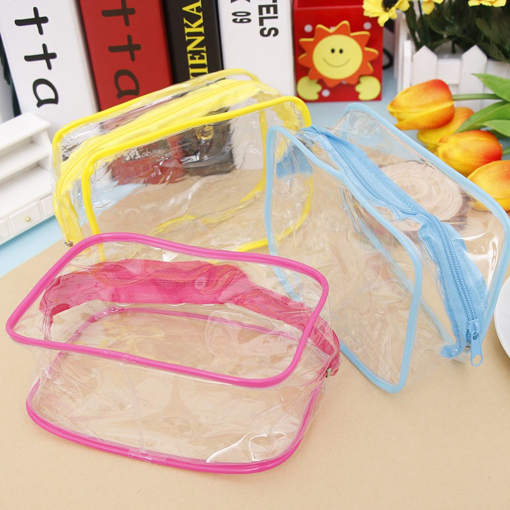 Travel PVC Cosmetic Bags Women Transparent Clear Zipper Makeup Bags Organizer Bath Wash Make Up Tote Handbags Case