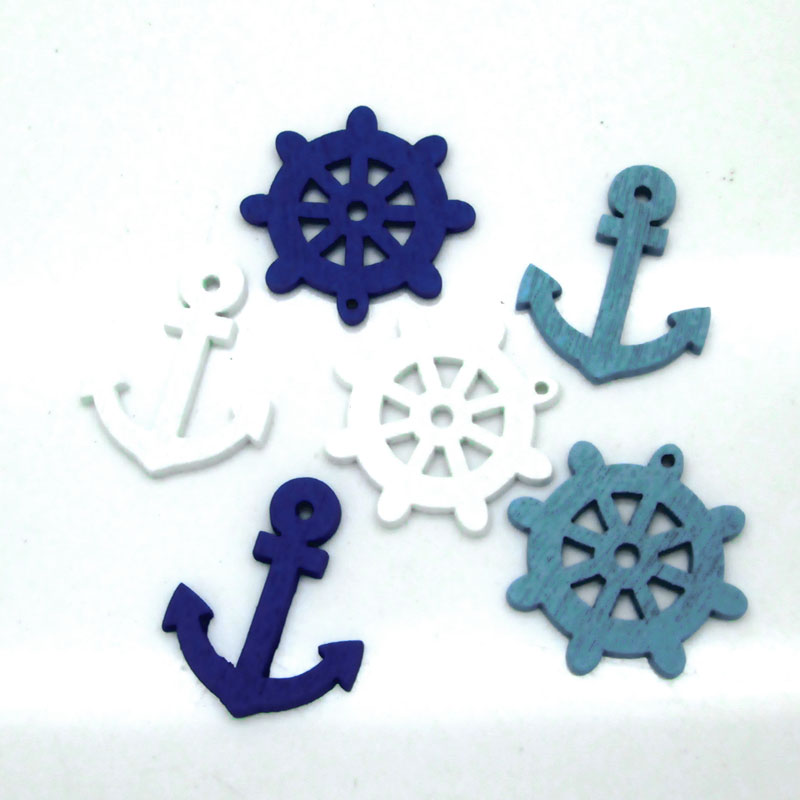lacontrie 50pc Mixed Anchor Wooden Buttons For Clothes