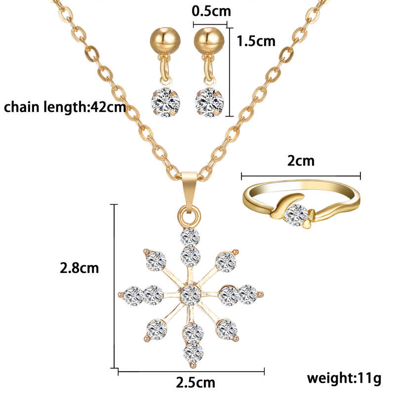 Simple chinese  Pendant Necklace Earring Ring women Jewelry Set bride Wedding Party gold Costume Jewelry sets