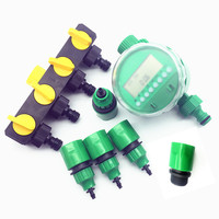 1 Set 7pcs Garden Irrigation Drip Irrigation Timer Bypass Control Valve 4/7mm Connector Quick Connector 3/4 Threaded Connection