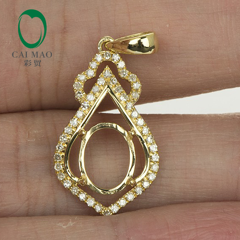 7x9mm Oval SOLID 14kt Yellow GOLD NATURAL DIAMOND SEMI MOUNT PENDANT SETTINGS vintage oval 7x9mm solid 18kt white gold diamond semi mount pendant wholesale fine jewelry for girl wp025