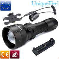 UniqueFire Tactical Shooting Torch Flashlight UF 1407 T38 IR 850NM Black Zoomable For Hunting+Charger+ScopeMount+Rat Tail Switch