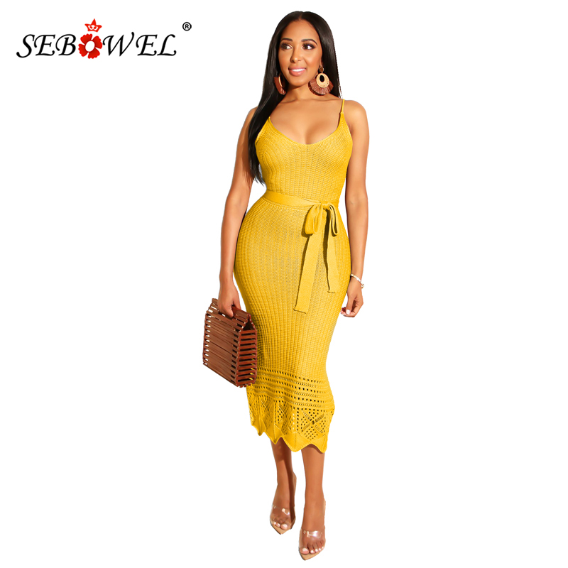 SEBOWEL 9 Colors Knit Midi Dress with Belt Women Solid Sexy Hollow Out Sleeveless Backless Pencil Party Dresses Femme Vestidos
