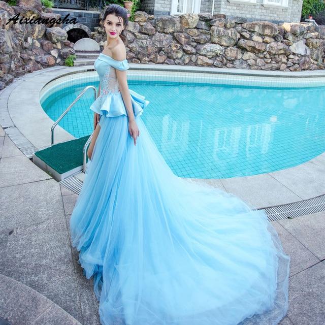 18 Blue Wedding Dresses Boat Neck With Train Appliques Flowers Royal Brida Robe de Marriage Wedding Gowns Elegant R