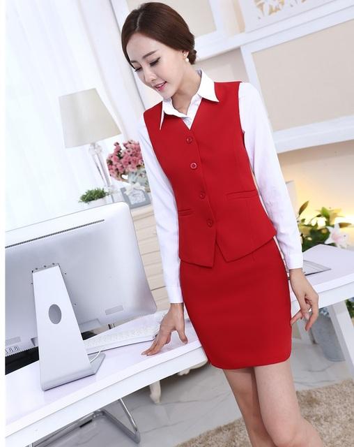 Formal Red Moda Slim Ternos de Negócio Profissional Com 3 peças colete + Saia + Camisas Das Senhoras Blazers Roupas Desgaste do Trabalho uniforme