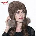Women Warm Real Mink  Fur Hat Winter Fur Knitted Hat for Mink Fur Beanies Fox Fur Pom Poms Brand Casual Skullies Thick Cap H#13