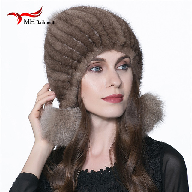 Women Warm Real Mink  Fur Hat Winter Fur Knitted Hat for Mink Fur Beanies Fox Fur Pom Poms Brand Casual Skullies Thick Cap H#13