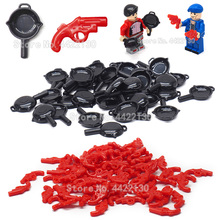 Legoinglys Military Weapons Set Lot Red Signal Gun Pubg Pan Figures Army Special Forces  Field Equipment  Toys For Children Gift
