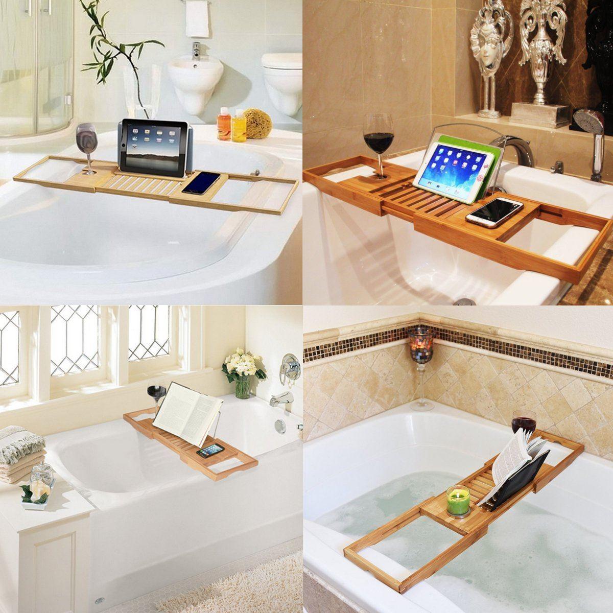 Bathroom Bath Tub Books phone Wine Cup Rack Shower Tray Holder Home ...