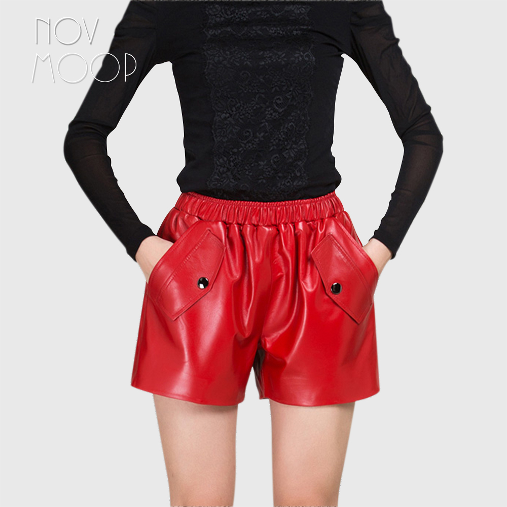 Shorts Women Stud-Decor Crop-Tops Pantalones Genuine-Leather Fashion Mujer Red LT1274