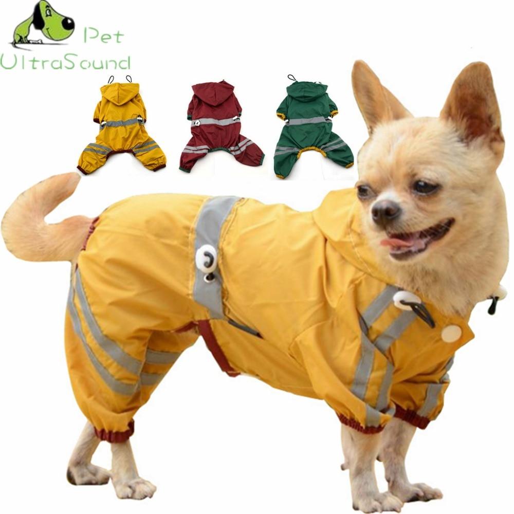 Anjing Tahan Air Polyester Jas Hujan Adjustable Elastis Dengan Pita Reflektif Empat Kaki Hijau Merah Kuning Ukuran XS-XXL Pet Dog RainCoat