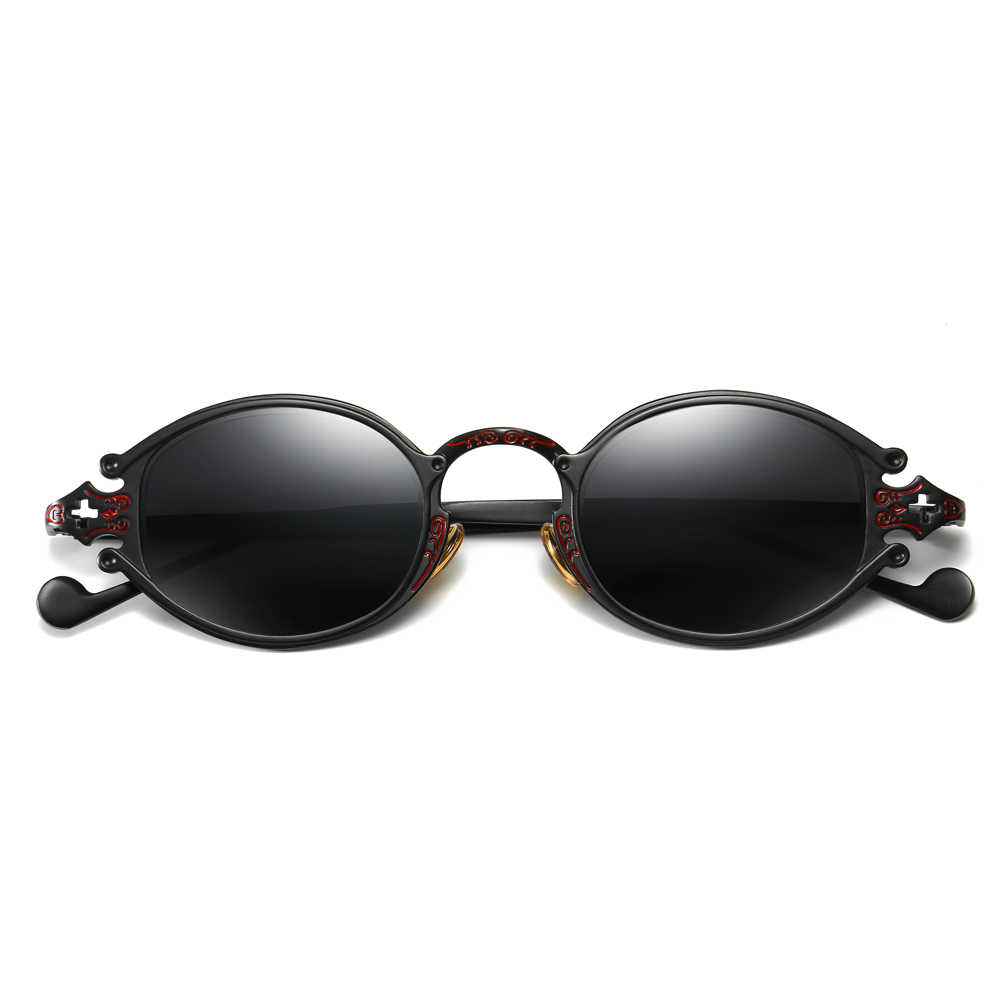c9dac61f6202 ... Peekaboo mens oval sunglasses men 2019 punk style red women sun glasses  retro round gold black ...