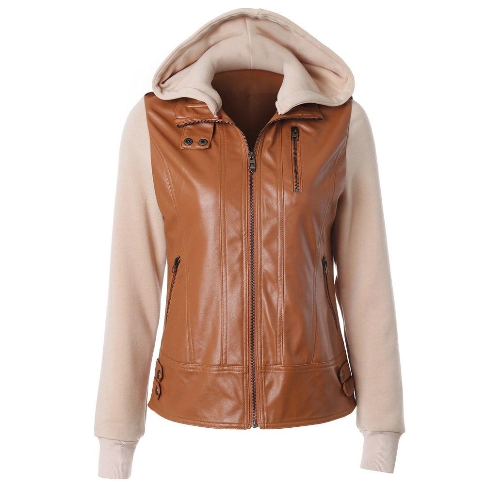 Sisjuly Autumn Winter Women Plus Size Brown Coffee Beige PU Leather Jacket Coat Applique Zipper Pocket Removable Hooded Overcoat