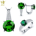 ANGG 2.3 ct Fashion Jewelry Set 925 Sterling Sliver Ring Earrings Necklace for Women Round Created Emerald Engagement & Wedding