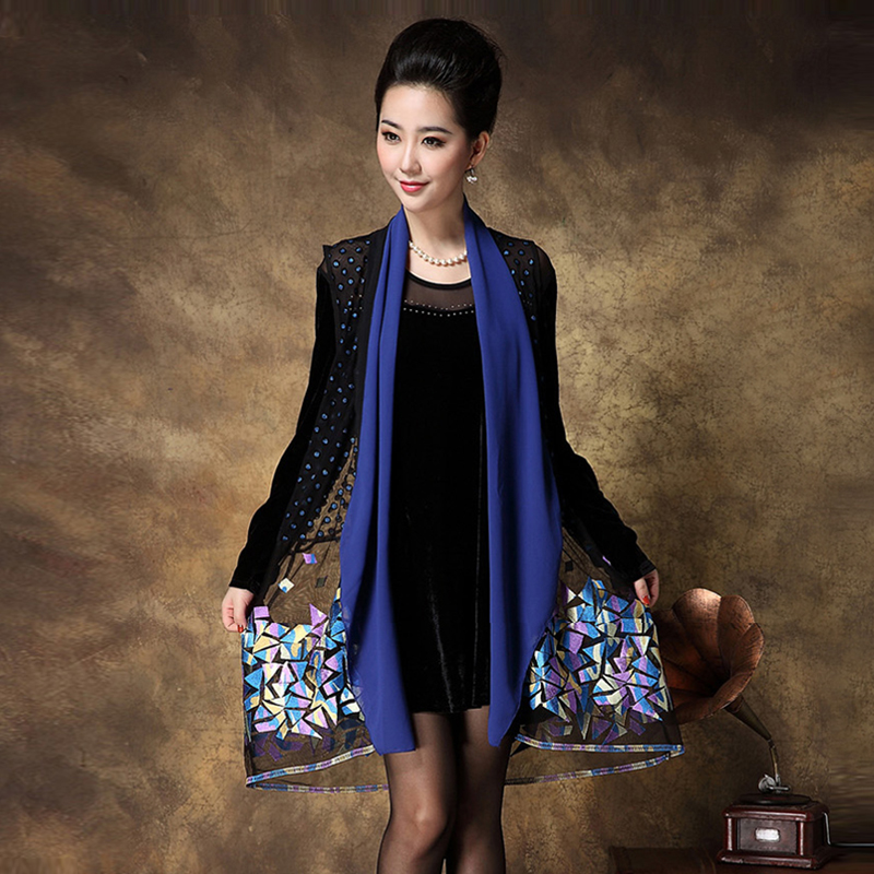2016 Large Size font b Women b font Mother Dress Two Pieces Embroidery Diamond Elegant Casual