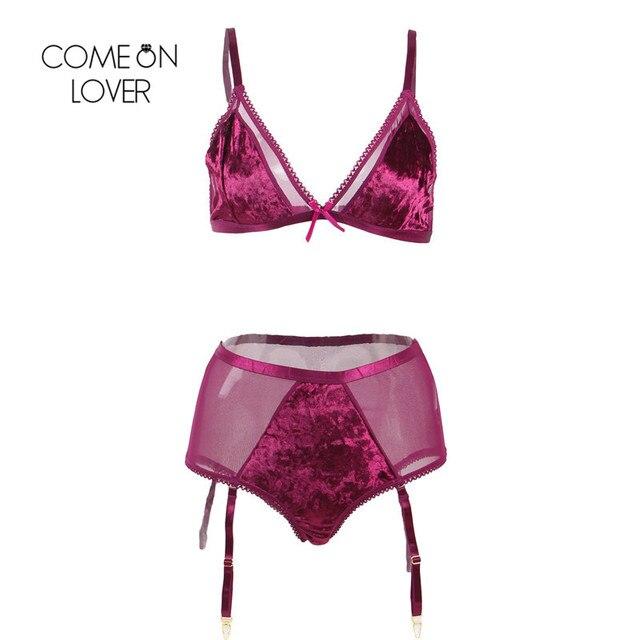 cf8e2385f0973 Comeonlover Velvet Lingerie Underwear Women Set 3XL 5XL Bralette Garter  Belt Set Mesh Valentine Lingerie Sexy Intimates RT80603