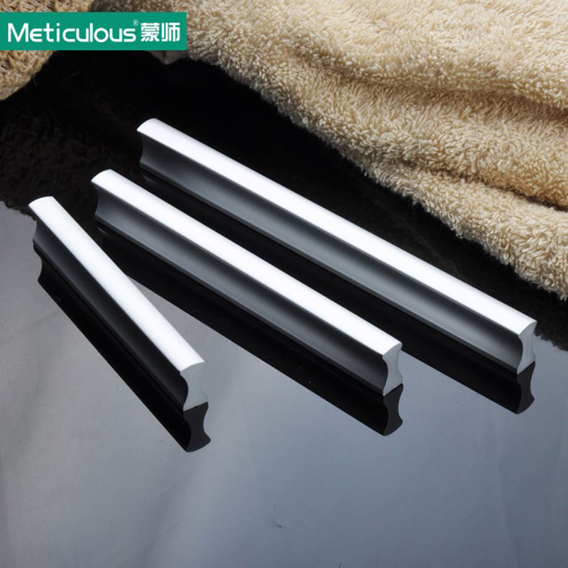 Meticulous Aluminium cabinet handles kitchen knob door pull handle drawer pulls modern Furniture cupboard knobs 64mm 192mm 10pcs phoenix kitchen cabinet drawer knob furniture handel