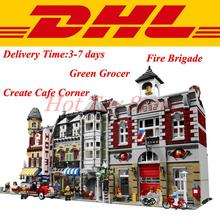 Lepin 15002 Make Create Cafe Corner 10182 15004 Creator Fire Brigade 10197 Lepin 15008 Creator Green Grocer 10185 Building Set