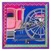 WINFOX New Women Fashion Royal Blue Pink Carriage Wheel Square Silk Scarf Luxury Brand