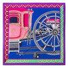 WINFOX New Women Fashion Royal Blue Pink Carriage Wheel Twill Square Silk Scarf Luxury Brand