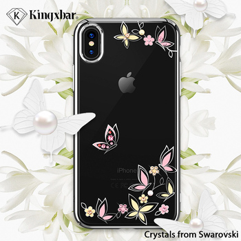 KINGXBAR Case for iPhone Xs Max Floral for iPhone Xs Case Flower Transparent for iPhoneXs Cover Luxury Crystals from Swarovski iPhone XS