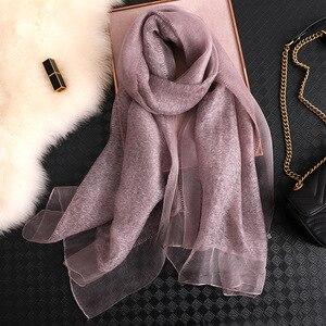 Image 4 - Fular de seda para mujer, Fular liso femenino, Pashmina, chal y envoltura, talla grande, toalla de playa, hiyab musulmán, 2020