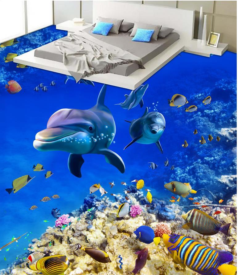 3d flooring Blue ocean dohphin PVC waterproof floor self-adhesive 3D floor  Home Decoration3d flooring Blue ocean dohphin PVC waterproof floor self-adhesive 3D floor  Home Decoration