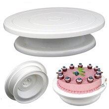 Пластиковый поворотный стол для торта, вращающийся Противоскользящий виниловый стол для украшения торта, вращающийся стол для торта, круглая подставка для торта, кухонные инструменты для выпечки 28 см
