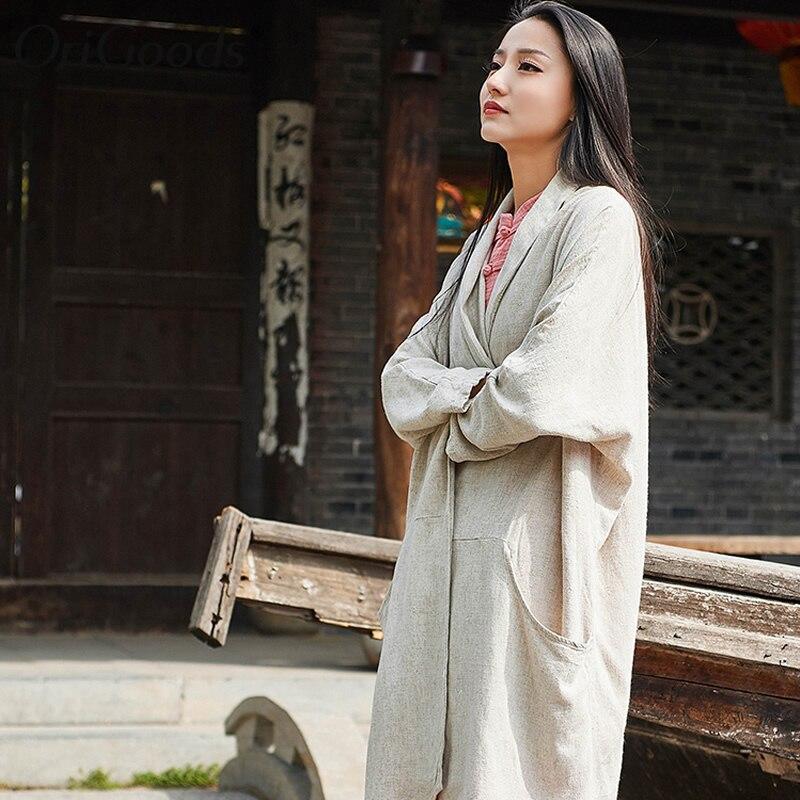 OriGoods Vintage Long Kimono chemise femmes lin grande taille à manches longues chemise Kimono style chemisier pour femmes été longs hauts B263 - 4