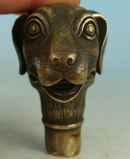 Christmas Decorations Asian Chinese Old Bronze Handmade Carved Dog Collect Statue Walking Stick