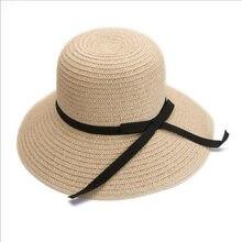 BINGYUANHAOXUAN mujeres verano Playa Sol sombrero de paja elegante  casquillo flojo de Bohemia paja para plegable cb7f4b019d38