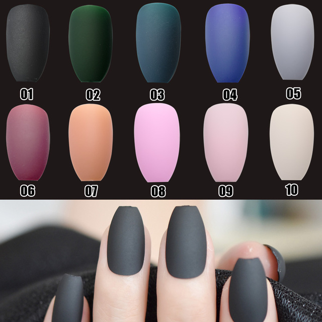 Multiple Color Coffin Design Matte Fake Nail Pure Color Candy Nail
