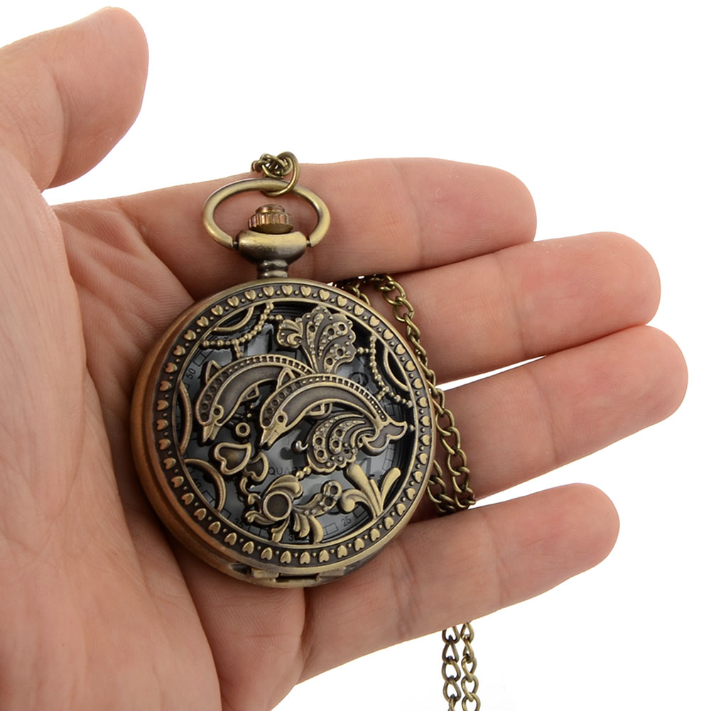 Cindiry Vintage Bronze Steampunk Skeleton Cute Dolphins  Pocket Watch Chain Stylish Mechanical bronze pendant  Hand Winding P2 цена и фото