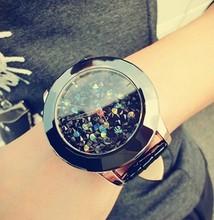Hot 2016 Recién Llegado de Hong Kong Marca Mujeres Rhinestone Relojes Banda de Cuero Las Mujeres se Visten De Cerámica Relojes Nave de La Gota de Cristal Austriaco