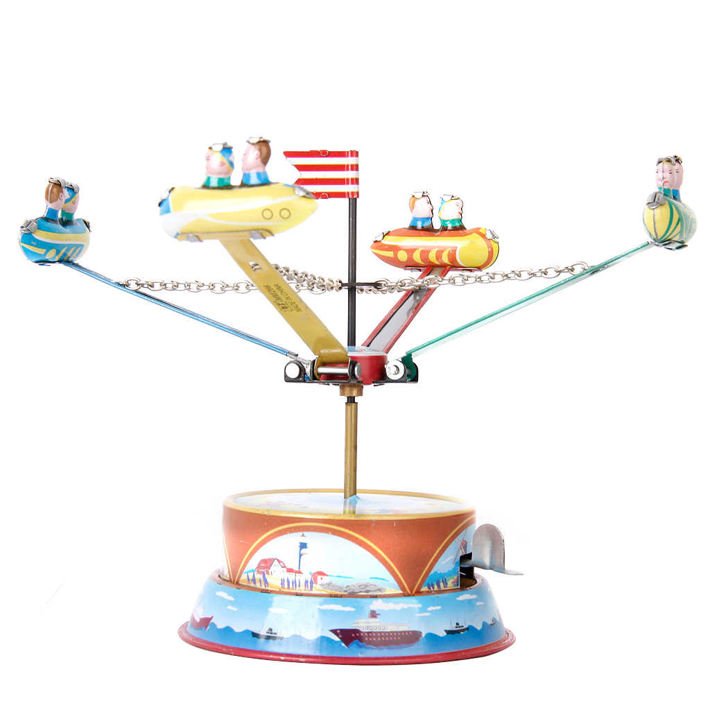 Mechanical Clockwork Wind Up Toys Vintage Rotating Spacecraft Model Tin Toy Collectibles for Adults Home Decor Ornaments
