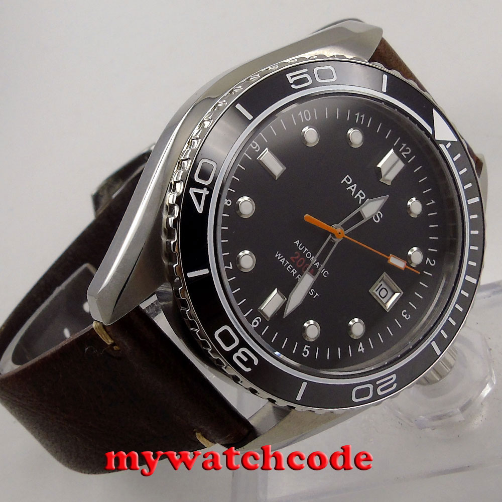 45mm Parnis black dial date window Ceramic Bezel miyota automatic mens Watch 671 все цены