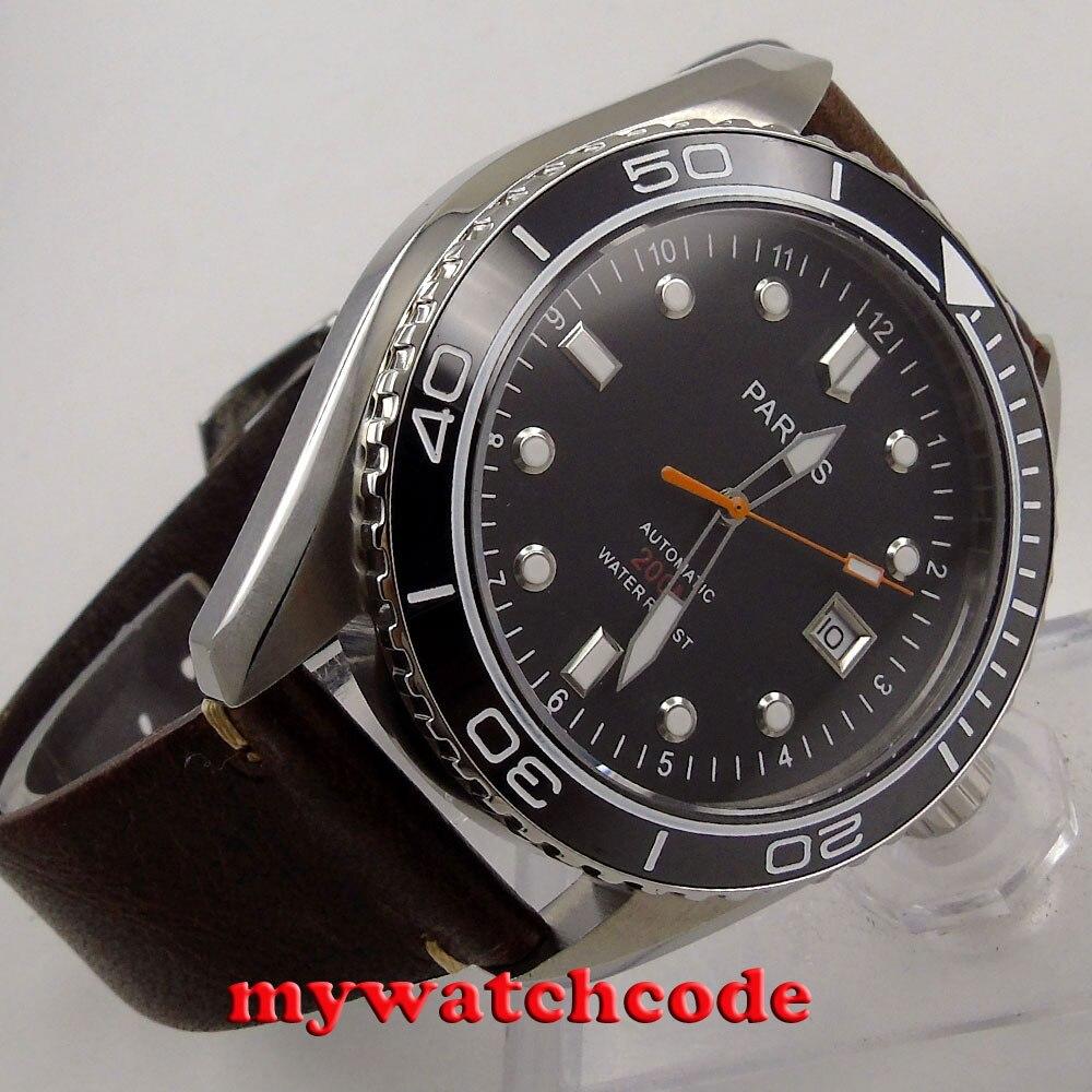 Saatler'ten Mekanik Saatler'de 45mm Parnis siyah kadran tarihi pencere Seramik Çerçeve miyota otomatik mens Watch 671'da  Grup 1