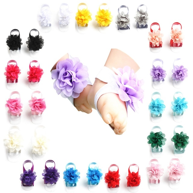 New Princess Cute Chiffon Flower Foot Baby Barefoot Sandals 15 Colors Toddler Flower Shoes Headband Baby Girls Accessories